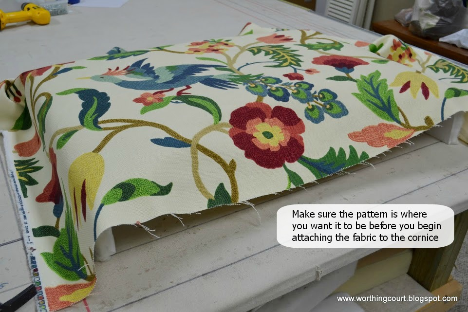 how to make a fabric covered cornice board