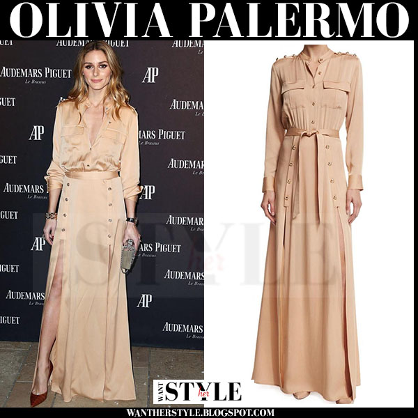 Olivia Palermo in camel maxi shirt dress with long sleeves self portrait what she wore