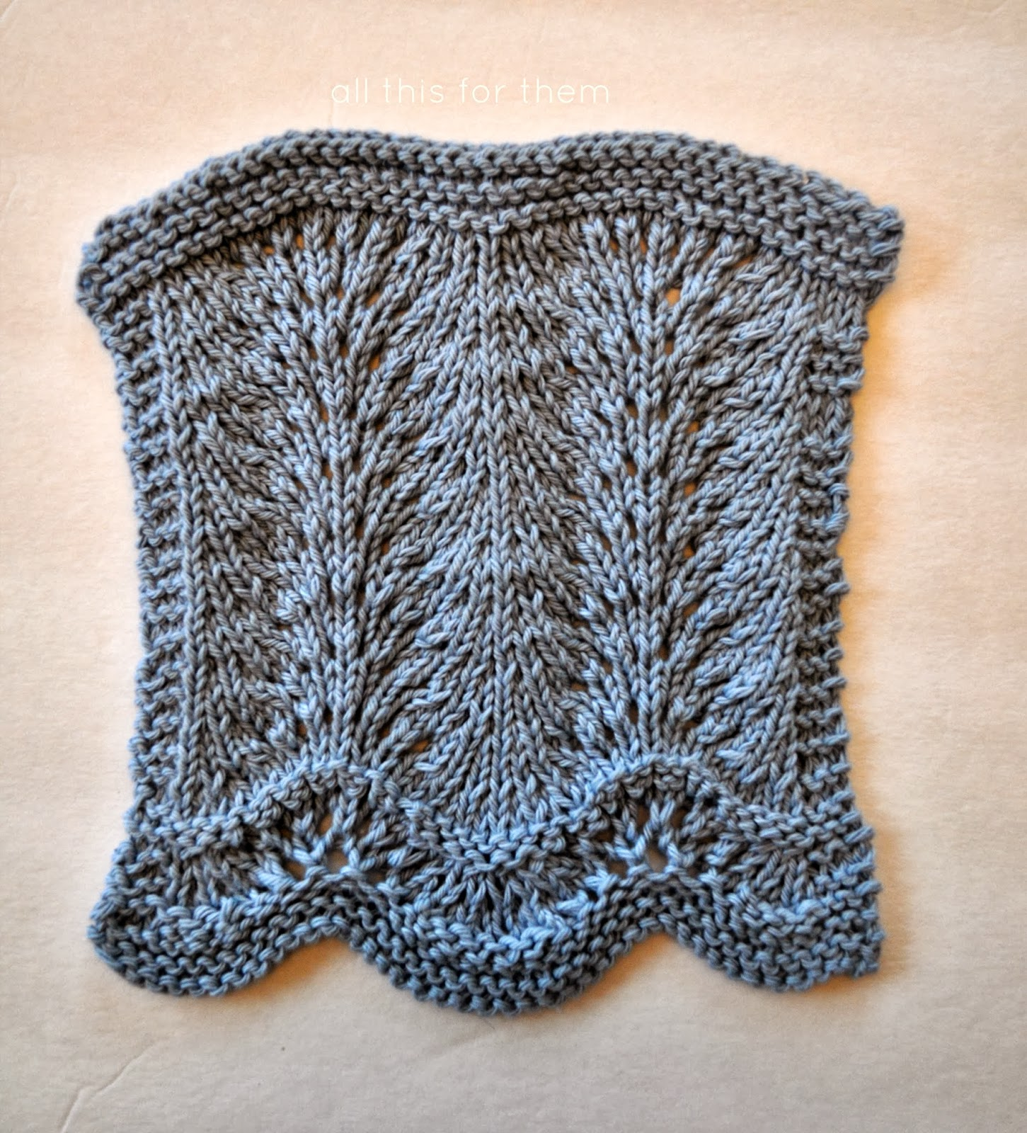 all this for them: Feather and Fan Dishcloth in Blues