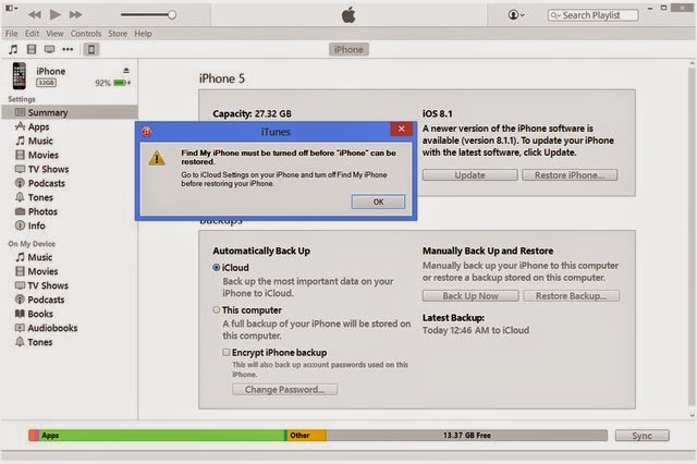 how to turn off find my iphone on itunes