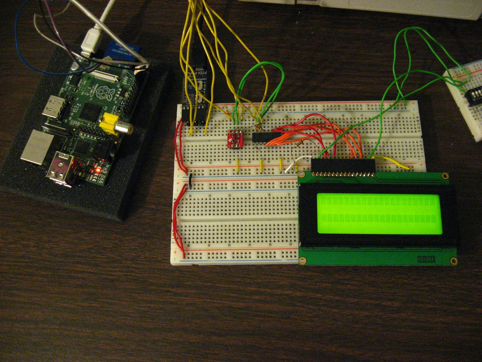Tech2077s Tech Blog Running A Hd44780 Lcd Over I2c On The Wiringpi Python Serial Example Raspberry Pi Wired Up To Bridge Pcf8574 Port Expander And Tmp102 12bit Temperature Sensor