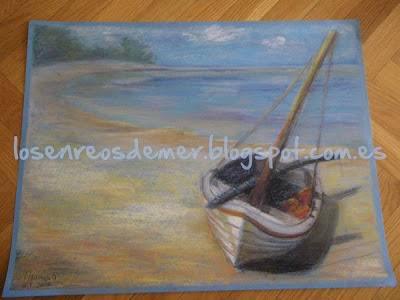 Barca en la playa. Pastel sobre papel