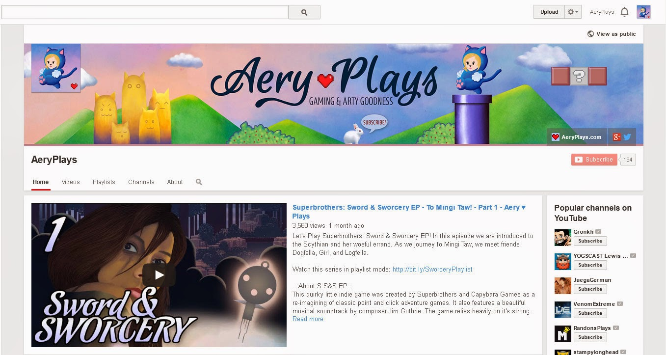 YouTube Channel AeryPlays Aery Plays Let's Play Video Games
