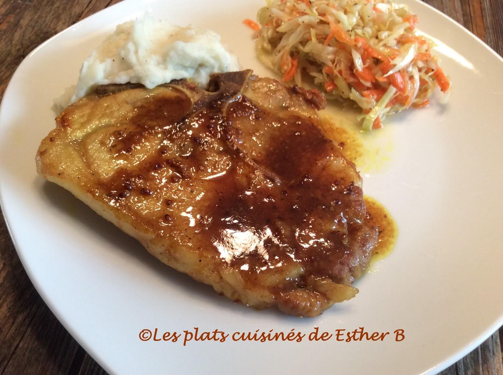 Les plats cuisin s de esther b c telettes de porc l for Plats cuisines marie
