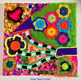 Crochet painting with button art - Freeform Crochet
