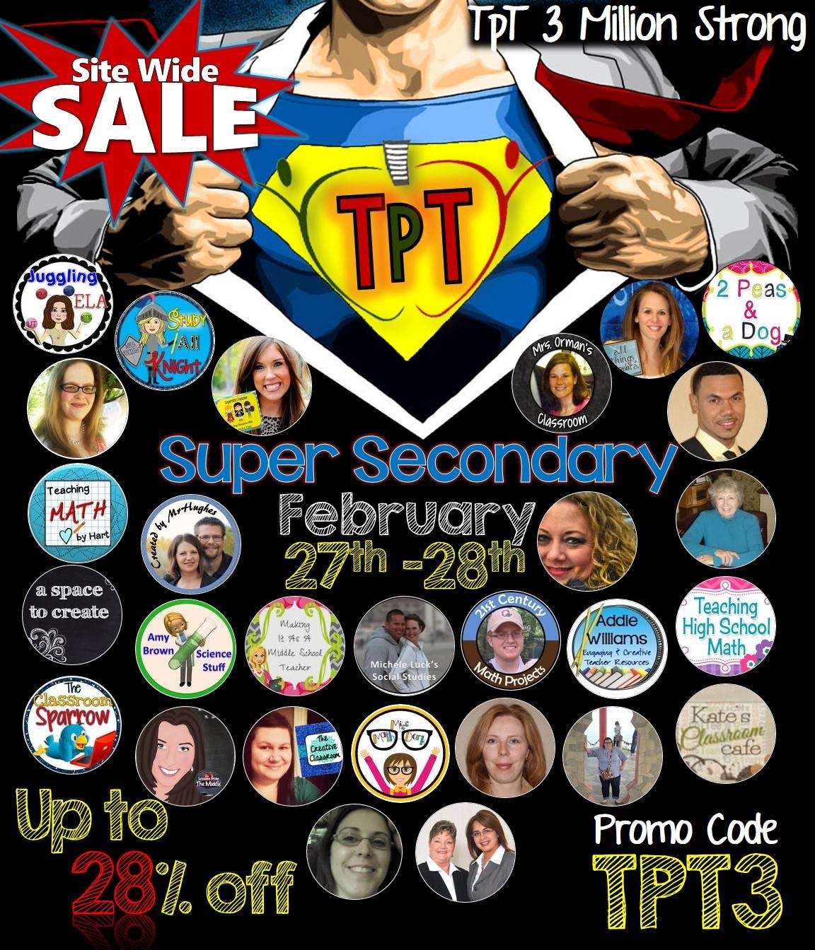 Super Secondary Sale Celebrating 3 Million Members on TeachersPayTeachers!