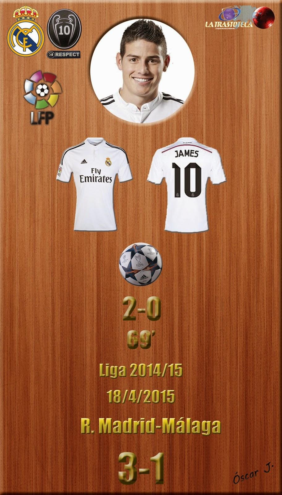 James Rodríguez (2-0) - Real Madrid 3-1 Málaga - Liga 2014/15 - Jornada 32 - (18/4/2015)