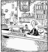 Cartoon of a Librarian with sign that reads search engine