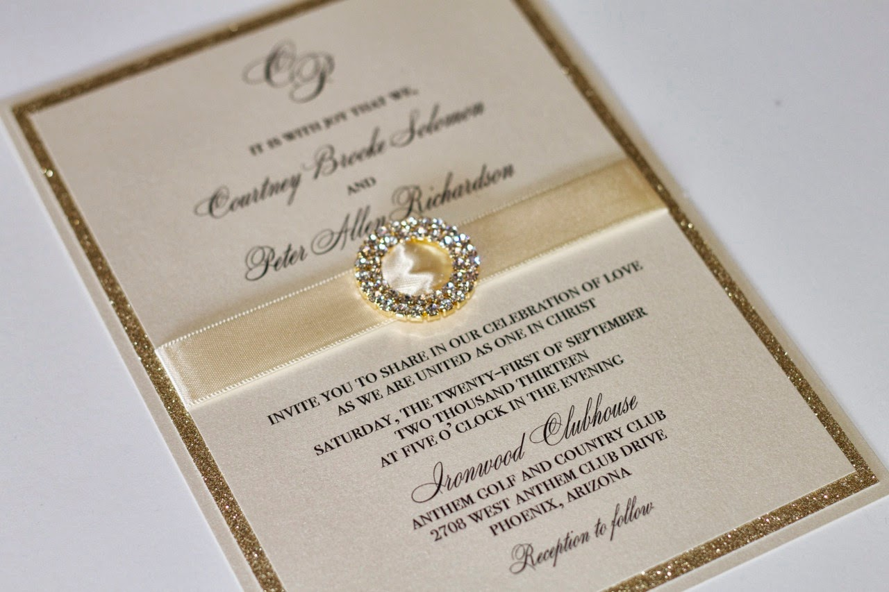 Gorgeous Wedding Invitation in Gold and Ivory ...