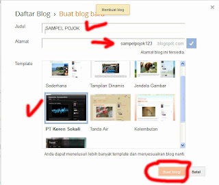 Jendela tampilan blogger untuk untuk mengisi nama blog, alamat url blog, dan me,ilih template