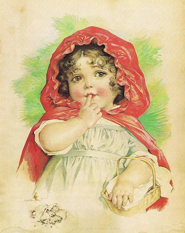 Девочка на старинных открытках 504