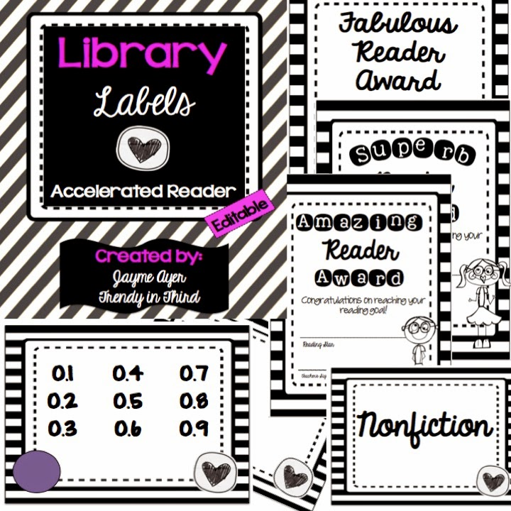 http://www.teacherspayteachers.com/Product/Library-Labels-Black-White-Accelerated-Reader-1322420