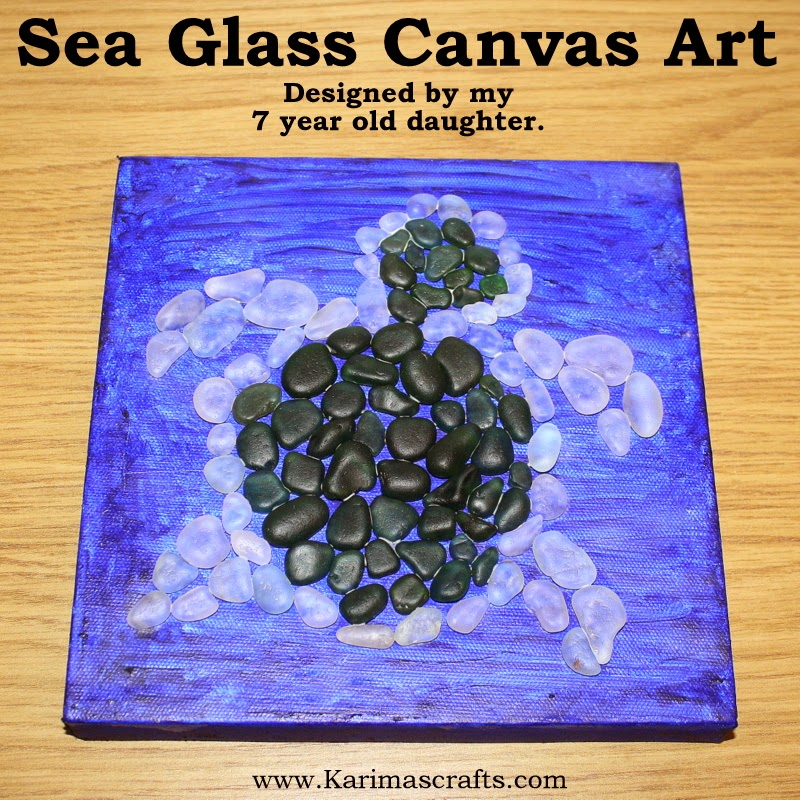 sea glass canvas art tutorial sea turtle