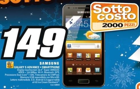 Torna ancora la promozione a prezzo sottocosto sul Galaxy S Advance venduto a 149 euro!