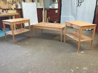 Coffee Table and End Table made of cherry and curly cherry