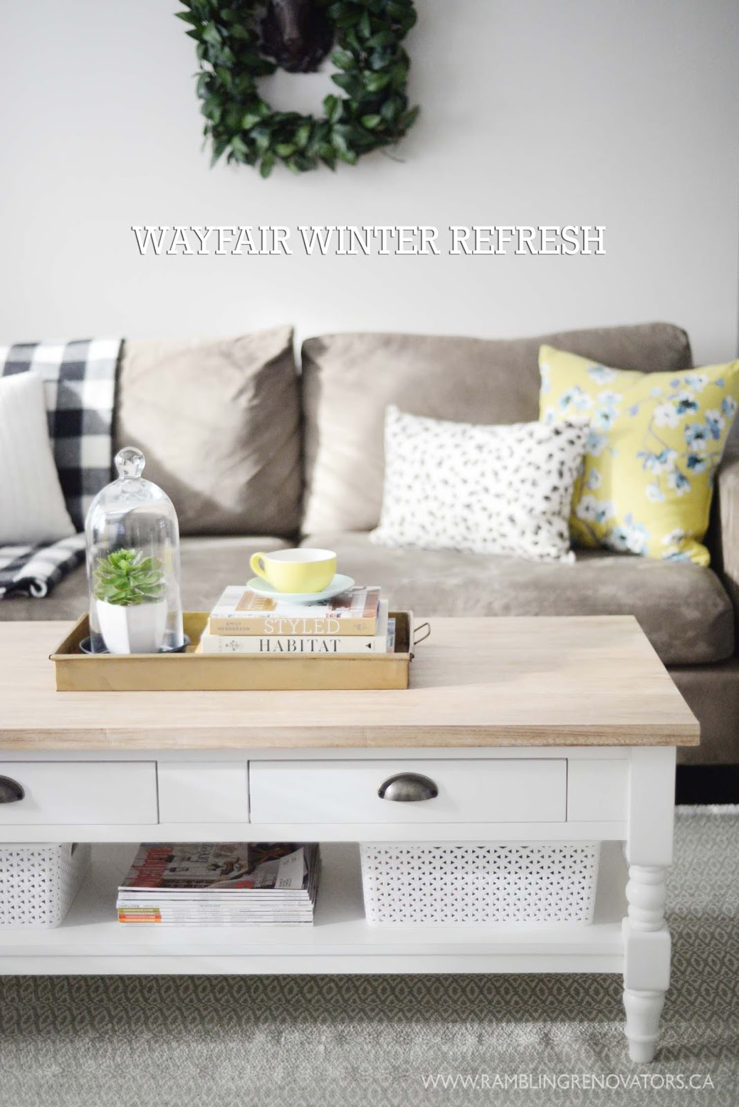 Wayfair Winter Refresh | natural wood and white painted coffee table | yellow teal white | RamblingRenovators.ca
