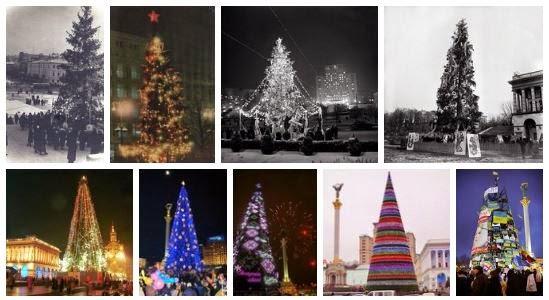 Киев новогодние елки год за годом