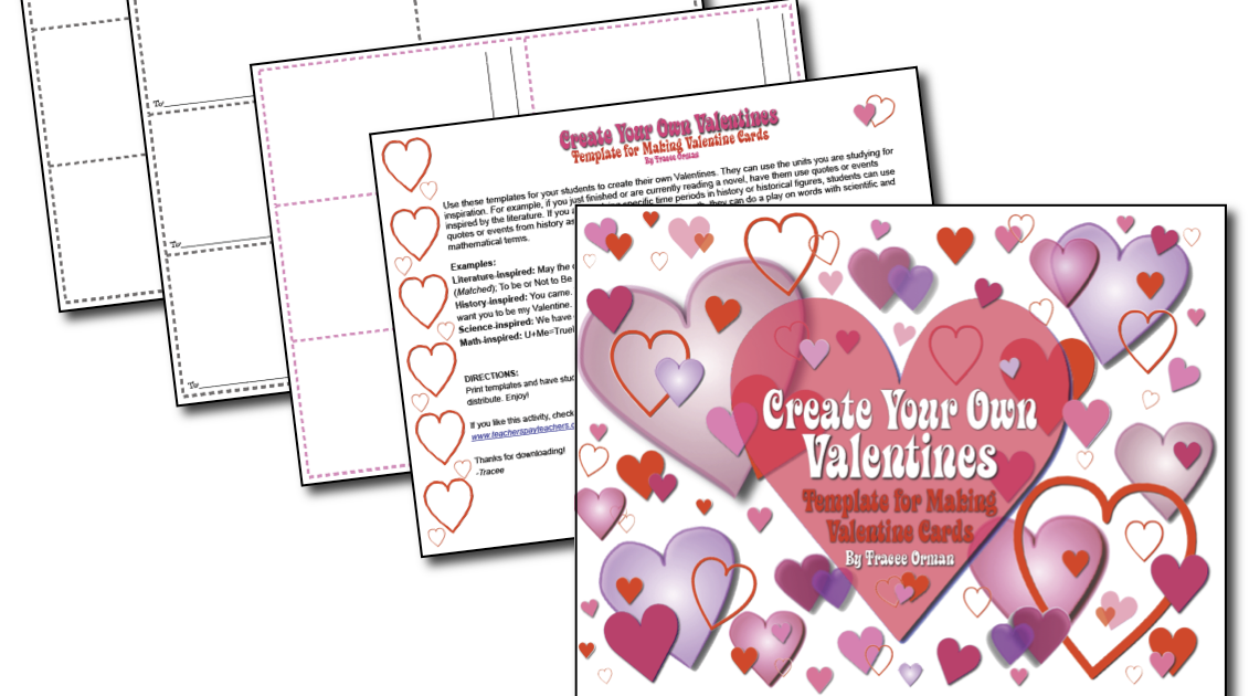 Classroom Freebies Create Your Own Valentine Template