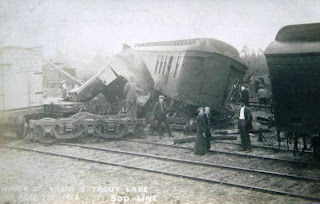 Trout Lake 1912 Train Wreck Historic Post Card View