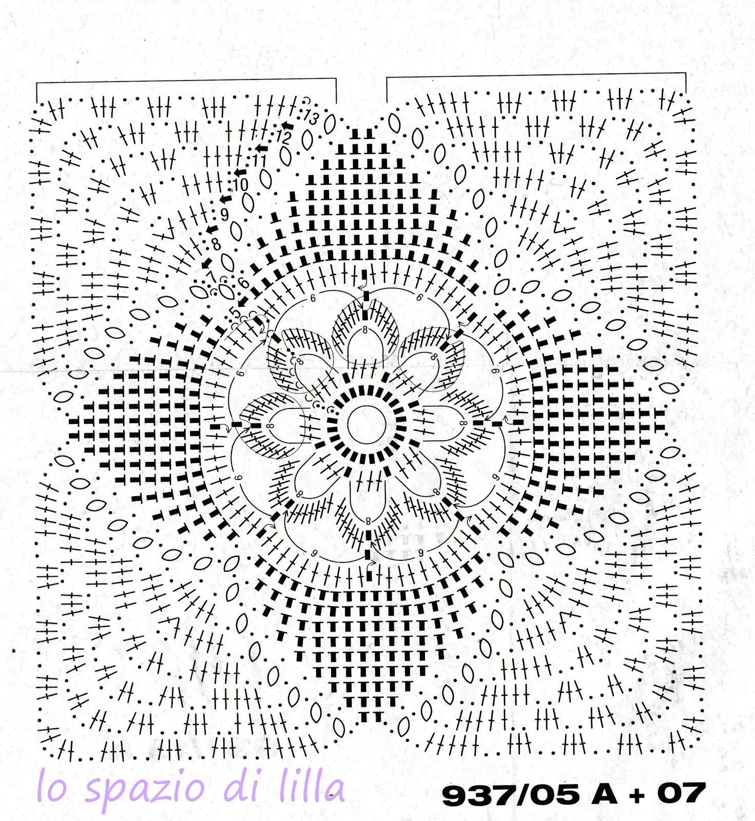 Lo spazio di lilla a gentile richiesta il copridivano a piastrelle crochet per giustina - Piastrelle all uncinetto schemi ...