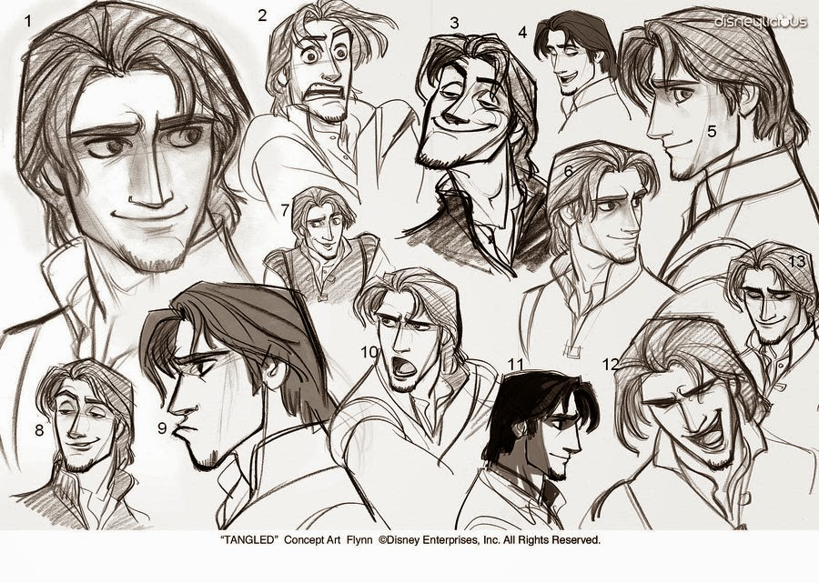 An illustration of Flynn Rider from the movie Tangled drawn by Glen Keane