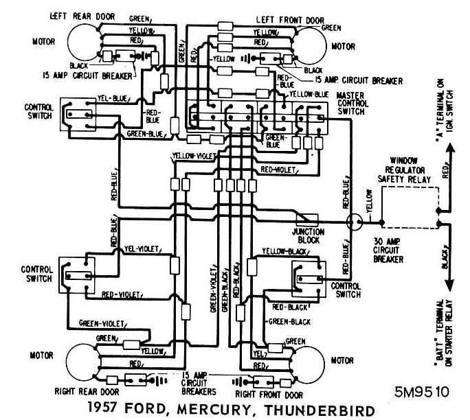 ford mercury and thunderbird 1957 windows wiring diagram