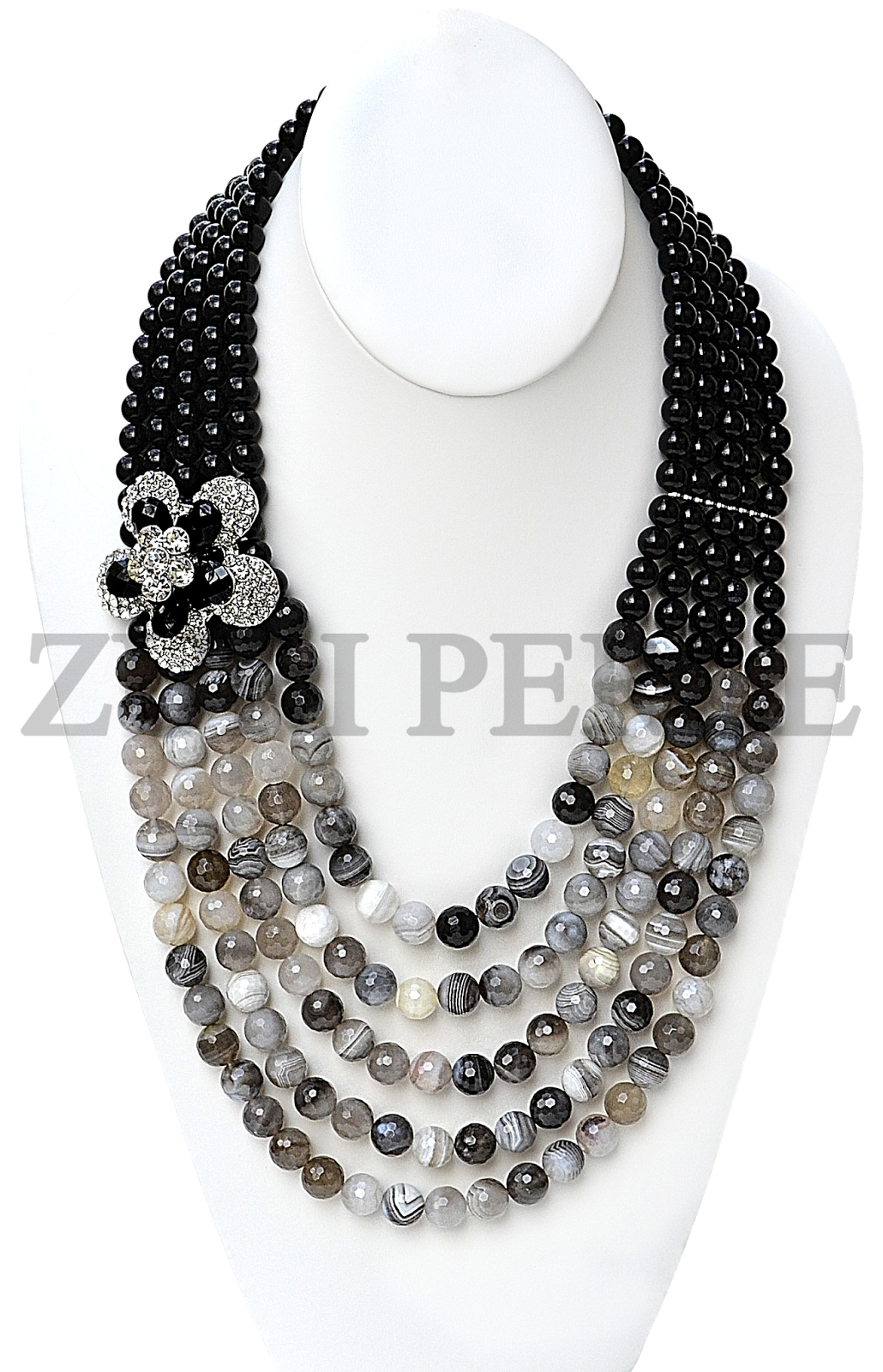 BLACK AND WHITE AGATE WITH BLACK ONYX BEADS