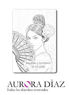 tarjetas para alfileres de novia gitanilla Sevilla
