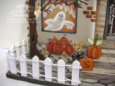 wood halloween house fence