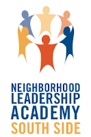 South Side Neighborhood Leadership Academy logo: cartoon people holding hands in a circle