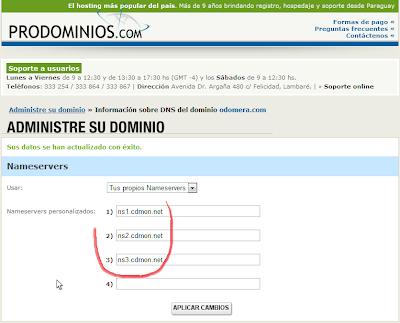 Nameservers en Prodominios.com