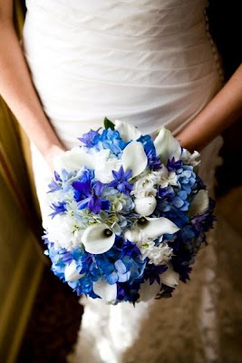 Bouquet - white tulips, light and dark blue hydrangea, white mini callas, white stock, blue delphinium and blue triteleia.