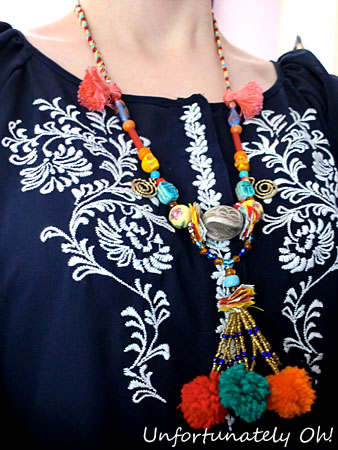 tassels and pompoms necklace