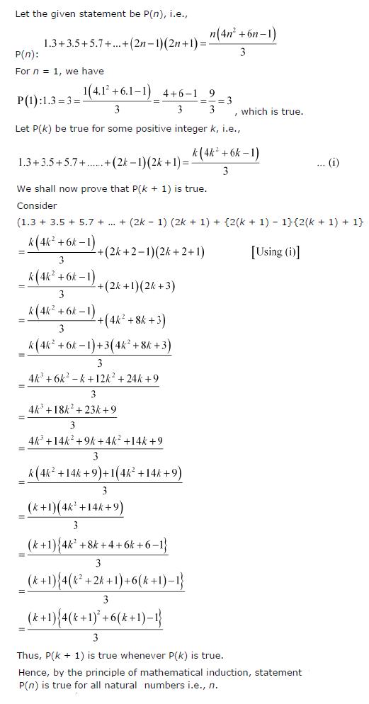 1.3 + 3.5 + 5.7 +…+ (2n–1) (2n+1) = n(4n2+6n -1)/3