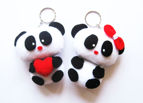 Craft Gantungan Kunci Sweet Couple Panda