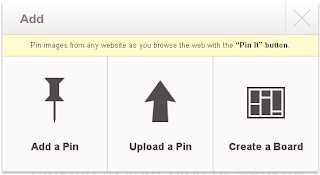 Dialog box to create a Pinterest board