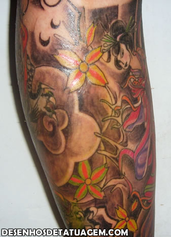 Combinações de tattoo com uma Gueixa