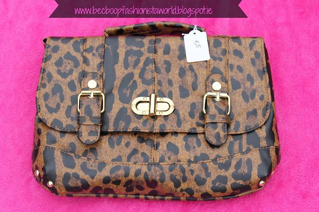 August Thrift Finds Pandoras Box Galway leopard print satchel shoulder bag