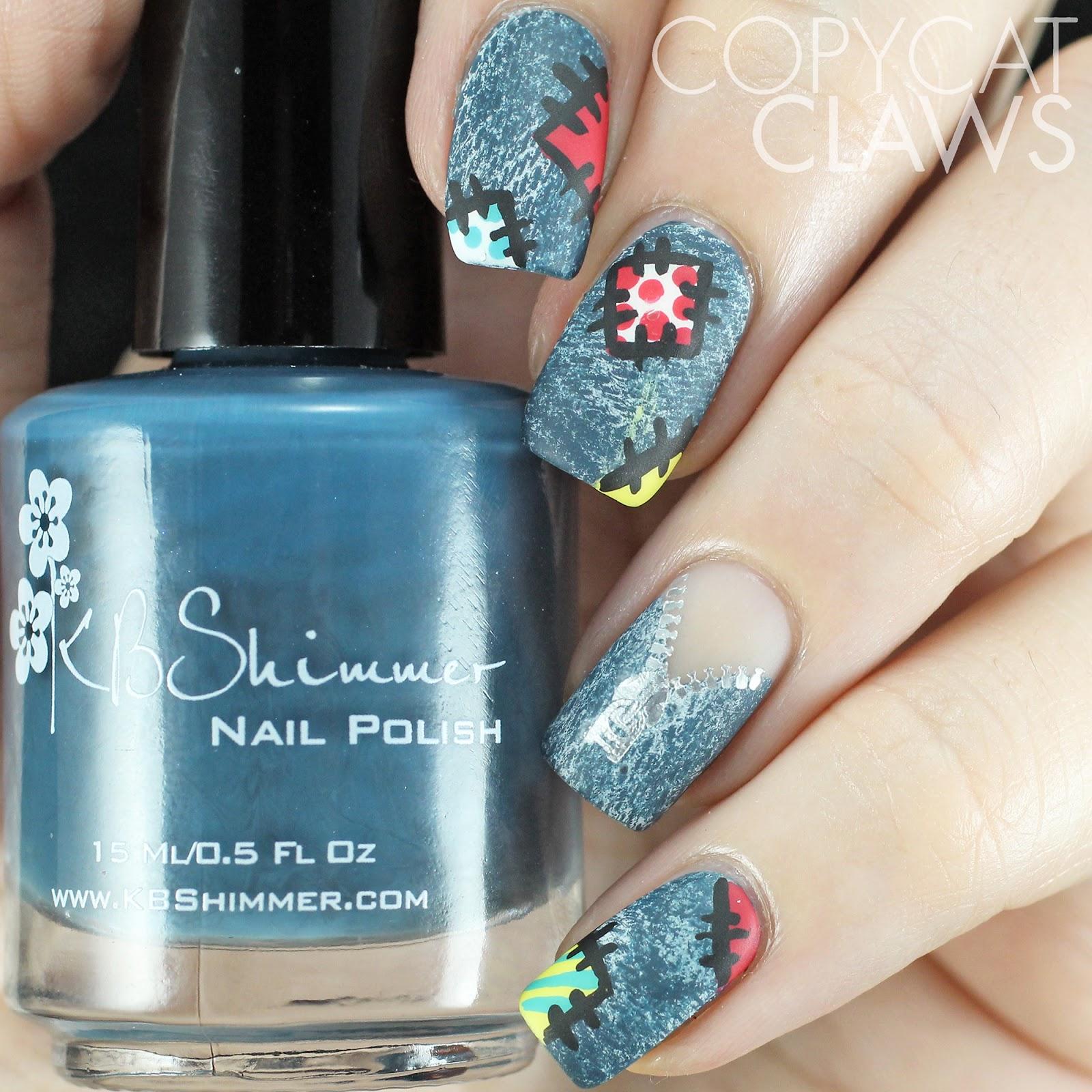 Copycat Claws Blue Color Block Nail Art: Copycat Claws: Patchwork Denim Nail Art