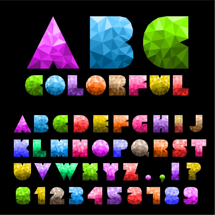 ポリゴン表示の数字とアルファベット colorful letters and numbers イラスト素材