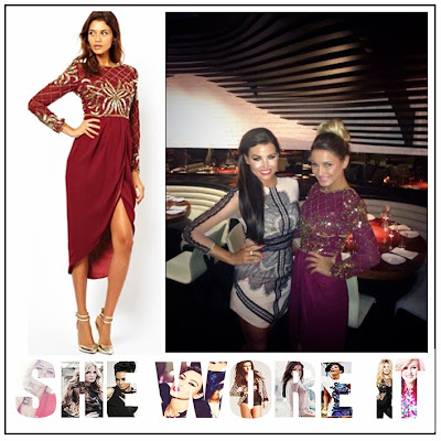 Bead, Draped Skirt, Embellished, Floral Embellishment, Gold, Long Sleeve, Maroon, Midi Dress, Red, Sam Faiers, Sequin, Sheer Top, The Only Way Is Essex, The Only Way is Vegas, TOWIE, Virgos Lounge,