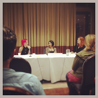 Women In Comics panel  L-R: Illustrator Jessica Kemp, Actress and artist  Jessica Martin, and myself, hosting.