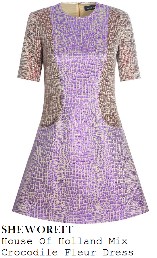 lauren-platt-lilac-purple-and-metallic-bronze-short-sleeve-crocodile-effect-dress-x-factor