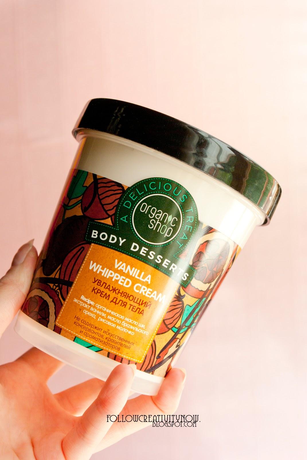 body desserts, vanilla whipped cream, organic shop