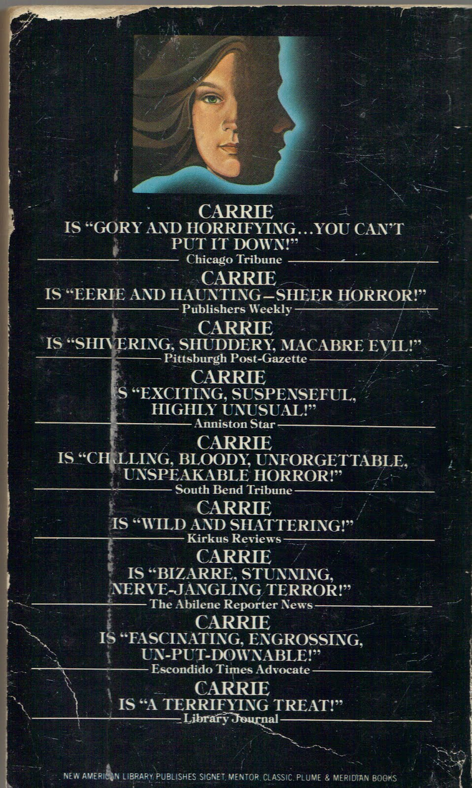 a comparison of the novels carrie by stephen king and in stir of echoes by richard matheson Essays related to stephen king's carrie: theme 1  the adaptation offended me, personally, because the novel is one of my favorite novels by stephen king.