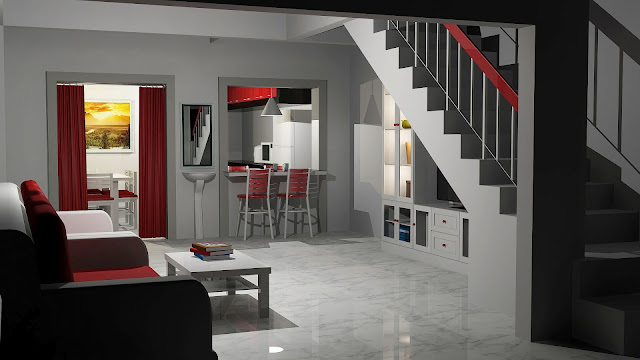 ... Design: Ubahsuai ruang tamu dan dapur - Design rumah saiz 14 x 60