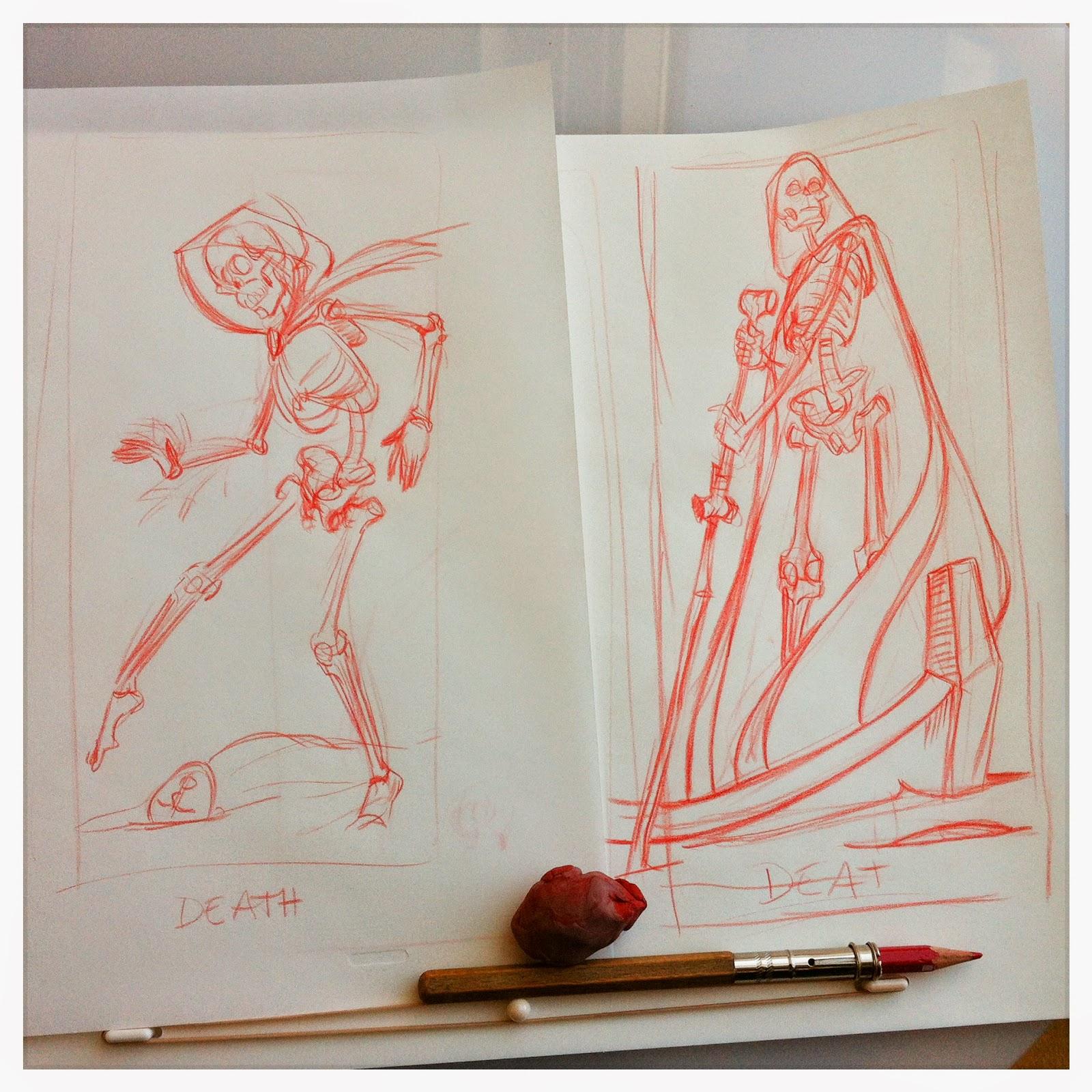 Death - tarot card concept sketch (in the style of Marseille tarot) - Cesare Asaro - Curio & Co. Curio and Co. OG - curioandco.com