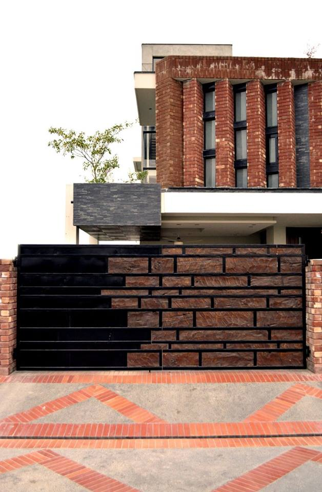 Modern house with red bricks tiles gutka elevation 3d for Home front tiles design