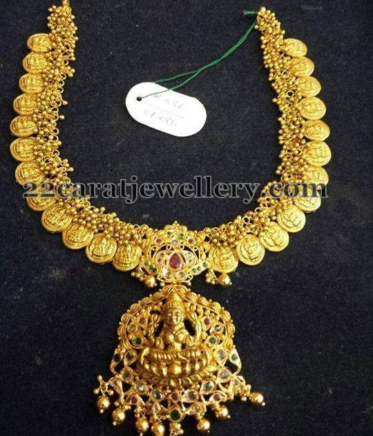 Gold Swirls Kasu Necklace with Pendant