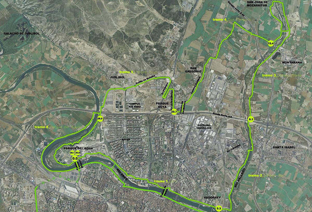 El anillo verde de zaragoza el recorrido norte caminos y - Anillo verde ciclista madrid mapa ...
